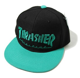 Thrasher(スラッシャー)キッズ キャップ 子供 スナップバックハット 平ツバ Kids Mini Mag Logo Snapback Hats Cap Black/Green JP企画 カジュアル ストリート スケボー SKATE SK8 スケートボード HARD CORE PUNK ハードコア パンク HIPHOP ヒップホップ SURF サーフ