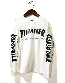 THRASHER(スラッシャー)キッズ ロンT ロングTシャツ 長袖 子供 MAG LOGO LONG SLEEVE TEE WHITE スケボー SKATE SK8 スケートボード HARD CORE PUNK ハードコア パンク HIPHOP ヒップホップ レゲエ reggae スノボー スノーボード Snowboard NINJA X