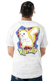 RIPNDIP(リップンディップ)Tシャツ Catch Em All T-Shirt White ピカチュウ カジュアル ストリート ネコ 猫 スケボー SKATE SK8 スケートボード HARD CORE PUNK ハードコア パンク HIPHOP ヒップホップ SURF サーフ レゲエ reggae スノボー スノーボード Snowboard NINJA X