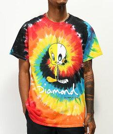 Diamond Supply Co. x Looney Tunes(ダイヤモンドサプライ/ルーニー・テューンズ)Tシャツ Tweety X-Ray Red, Blue & Black Tie Dye T-Shirt タイダイ トゥイーティー メンズ カジュアル ストリート スケボー SKATE SK8 スケートボード PUNK パンク HIPHOP ヒップホップ