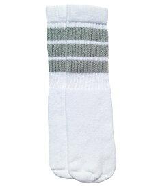 SkaterSocks ベビー キッズ 赤ちゃん 子供 ロングソックス 靴下 ソックス スケート スケボー チューブソックス Kids White tube socks with Grey stripes style 1(10インチ)10 Inch BABY-KIDS Striped SKATE SK8 PUNK パンク HIPHOP ヒップホップ サーフ レゲエ
