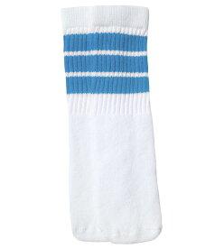 SkaterSocks ベビー キッズ 赤ちゃん 子供 ロングソックス 靴下 ソックス スケート スケボー チューブソックス Kids White tube socks with Baby Blue stripes style 1(10インチ)10 Inch BABY-KIDS Striped SKATE SK8 PUNK パンク HIPHOP ヒップホップ サーフ レゲエ