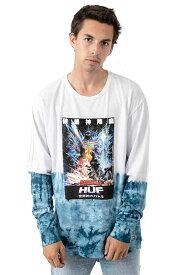 Huf x Godzilla (ハフ) ゴジラ ロンT ロングTシャツ 長袖 Space Godzilla Tie-Dye L/S Shirt White メンズ カジュアル ストリート スケボー SKATE SK8 スケートボード HARD CORE PUNK ハードコア パンク HIPHOP ヒップホップ SURF サーフ レゲエ reggae スノボー