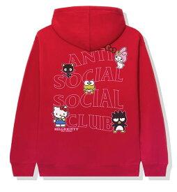 AntiSocialSocialClub (アンチソーシャルソーシャルクラブ) ハローキティ パーカー プルオーバー Hello Kitty and Friends x ASSC Red Hoodie メンズ カジュアル ストリート スケボー SKATE SK8 スケートボード HARD CORE PUNK ハードコア パンク HIPHOP ヒップホップ