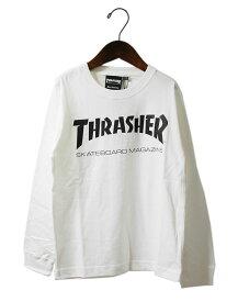 Thrasher (スラッシャー) キッズ 子供 ロンT ロングTシャツ 長袖 Kids Mag Logo Long sleeve T-Shirt White スケボー SKATE SK8 スケートボード HARD CORE PUNK ハードコア パンク HIPHOP ヒップホップ SURF サーフ レゲエ reggae スノボー スノーボード Snowboard NINJA X