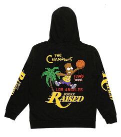 BornxRaised (ボーンアンドレイズド) レイカーズ シンプソンズ パーカー プルオーバー EL BARTO HOODY BLACK The Simpsons Los Angeles Lakers メンズ カジュアル ストリート スケボー SKATE SK8 スケートボード HARD CORE PUNK ハードコア パンク HIPHOP ヒップホップ