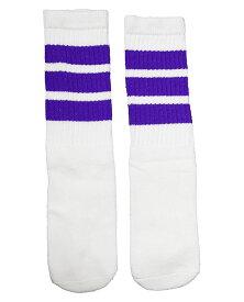 SkaterSocks (スケーターソックス) キッズ 子供 ロングソックス 靴下 ソックス チューブソックス Kids White tube socks with Purple stripes style 1 (14インチ) スケボー SK8 SKATE スケートボード