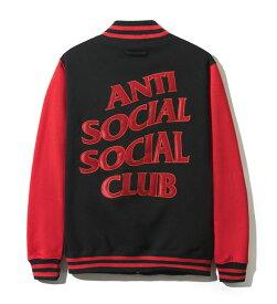AntiSocialSocialClub (アンチソーシャルソーシャルクラブ) スタジャン スタジアムジャケット Dropout Red/Black Letterman メンズ カジュアル ストリート スケボー SKATE SK8 スケートボード HARD CORE PUNK ハードコア パンク HIPHOP ヒップホップ