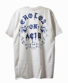 BornxRaised (ボーンアンドレイズド) Tシャツ CHOLOS ON ACID TEE WHITE メンズ カジュアル ストリート スケボー SKATE SK8 スケートボード HARD CORE PUNK ハードコア パンク HIPHOP ヒップホップ SURF サーフ レゲエ reggae スノボー スノーボード Snowboard NINJA X