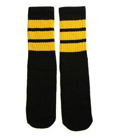 SkaterSocks (スケーターソックス) キッズ 子供 ロングソックス 靴下 ソックス チューブソックス Kids Black tube socks with Gold stripes style 1 (14インチ) スケボー SK8 SKATE スケートボード