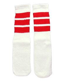 SkaterSocks (スケーターソックス) キッズ 子供 ロングソックス 靴下 ソックス チューブソックス Kids White tube socks with Red stripes style 1 (14インチ) スケボー SK8 SKATE スケートボード