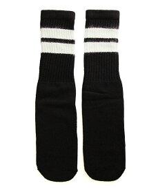 SkaterSocks (スケーターソックス) キッズ 子供 ロングソックス 靴下 ソックス チューブソックス Kids Black tube socks with White stripes style 2 (14インチ) スケボー SK8 SKATE スケートボード