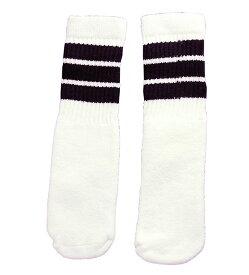 SkaterSocks (スケーターソックス) ベビー キッズ ロングソックス 靴下 ソックス 赤ちゃん Kids White tube socks with Black stripes style 1 (10インチ)