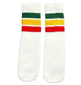 SkaterSocks ベビー キッズ 赤ちゃん 子供 ロングソックス 靴下 ソックス スケート スケボー チューブソックス Kids White tube socks with rasta stripes style 1(10インチ)10 Inch ラスタ BABY SKATE SK8