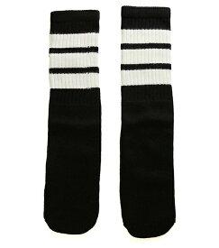 SkaterSocks キッズ 子供 ロングソックス 靴下 ソックス スケート スケボー チューブソックス Kids Black tube socks with White stripes style 1 (14インチ) SKATE SK8 スケートボード