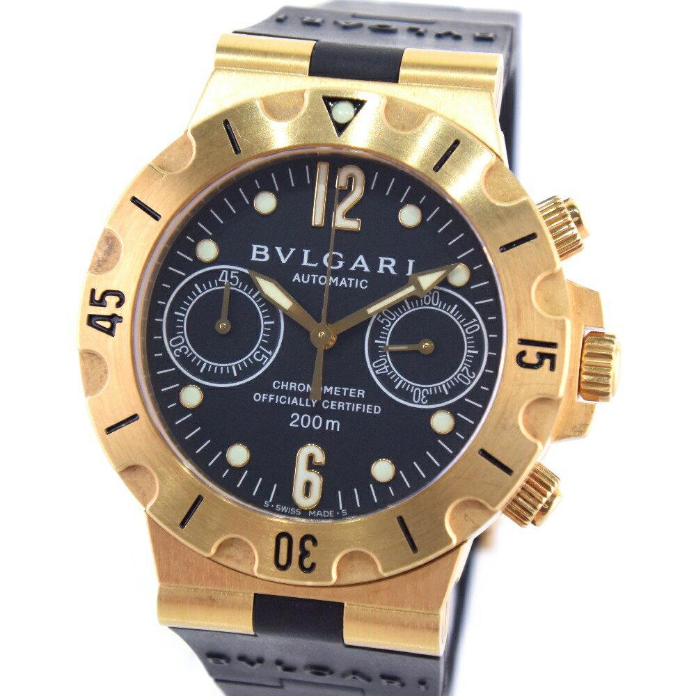 【BVLGARI】ブルガリ ディアゴノスポーツ SC38G K18イエローゴールド×ラバー ゴールド 自動巻き メンズ 黒文字盤 腕時計【中古】A-ランク