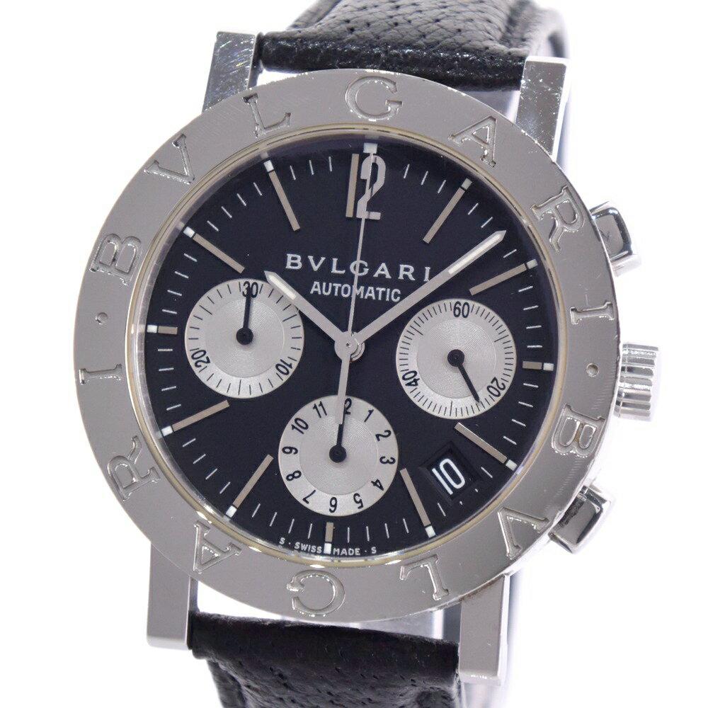 【BVLGARI】ブルガリ ブルガリブルガリ BB38SLCH ステンレススチール×レザー シルバー 自動巻き メンズ 黒文字盤 腕時計【中古】A-ランク
