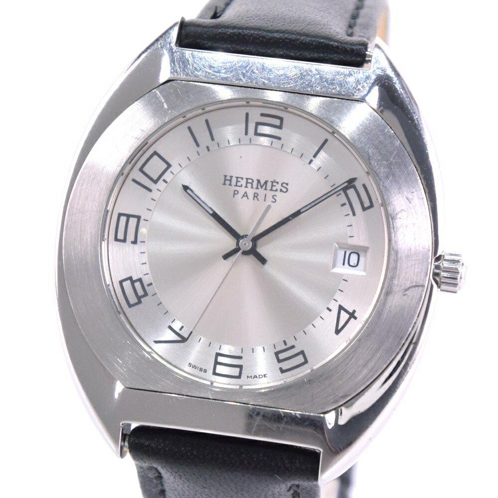 【HERMES】エルメス エスパス ES2.710 ステンレススチール ブラック クオーツ メンズ シルバー文字盤 腕時計【中古】A-ランク