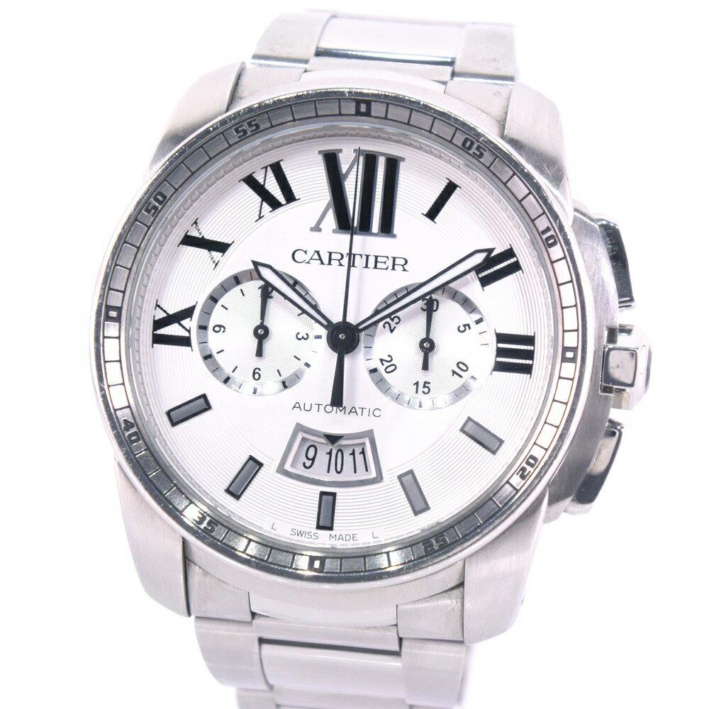 【CARTIER】カルティエ カリブルドゥカルティエ クロノ W7100045 ステンレススチール シルバー 自動巻き メンズ 白文字盤 腕時計【中古】A-ランク