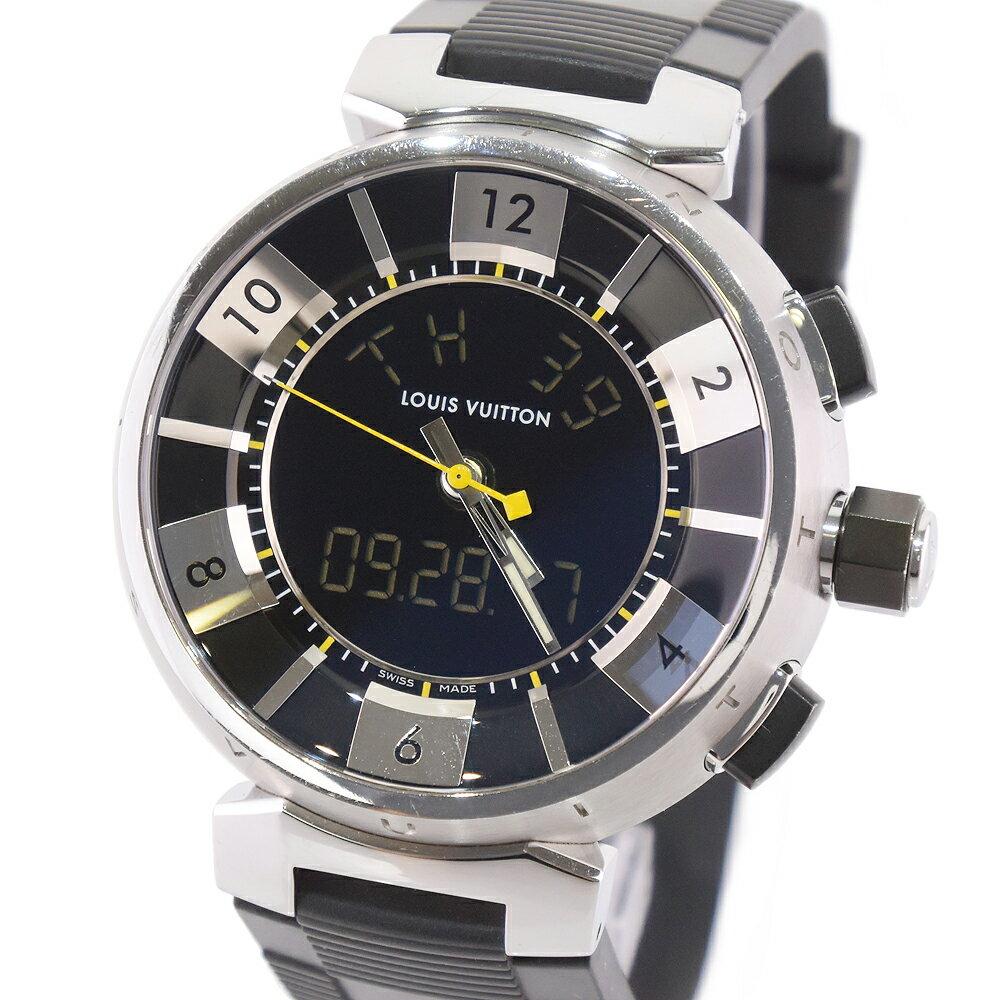 【LOUIS VUITTON】ルイ・ヴィトン タンブールインブラック Q118F ステンレススチール×ラバー シルバー クオーツ メンズ 黒文字盤 腕時計【中古】A-ランク