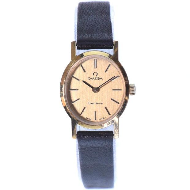 【OMEGA】オメガ GP×レザー 黒 手巻き レディース ゴールド文字盤 腕時計【中古】