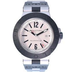【BVLGARI】ブルガリ アルミニウム ブルガリブルガリ AL44TA ラバー 黒 自動巻き メンズ シルバー文字盤 腕時計【中古】Aランク