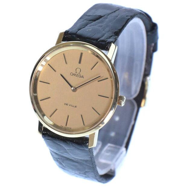 【OMEGA】オメガ デヴィル K18イエローゴールド×レザー 黒 手巻き メンズ ゴールド文字盤 腕時計【中古】