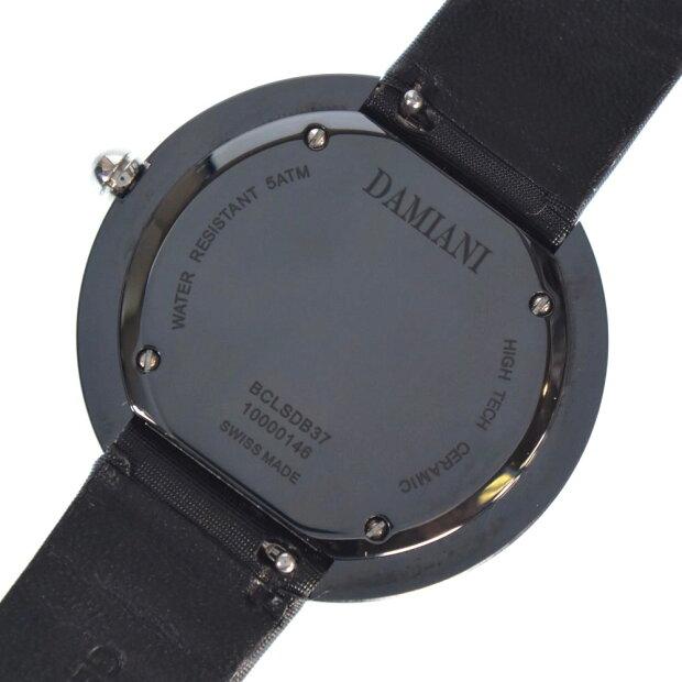 【Damiani】ダミアーニ ベルエポック 12Pダイヤ BCLSDB37 サテン×ステンレススチール ブラック クオーツ メンズ ネイビー文字盤 腕時計【中古】Aランク