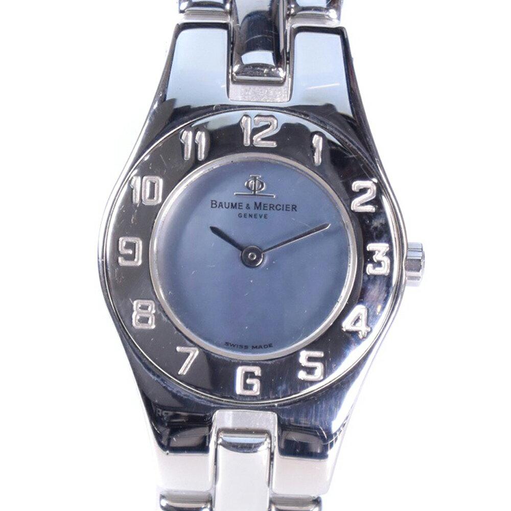 【Baume & Mercier】ボーム&メルシェ MV045204 ステンレススチール シルバー クオーツ レディース ブルーシェル文字盤 腕時計【中古】A-ランク