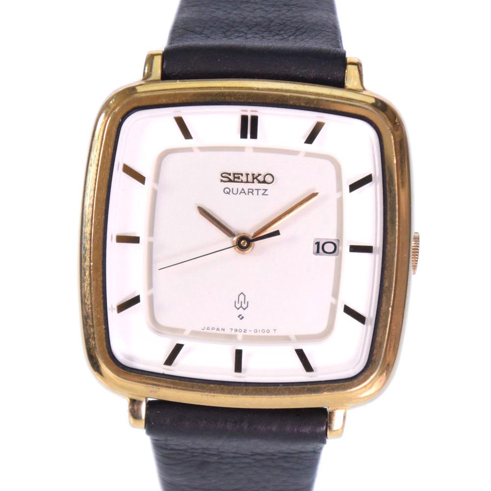 【楽天スーパーセール割引】【SEIKO】セイコー 7902-5040 GP×レザー ゴールド クオーツ レディース 白文字盤 腕時計【中古】A-ランク