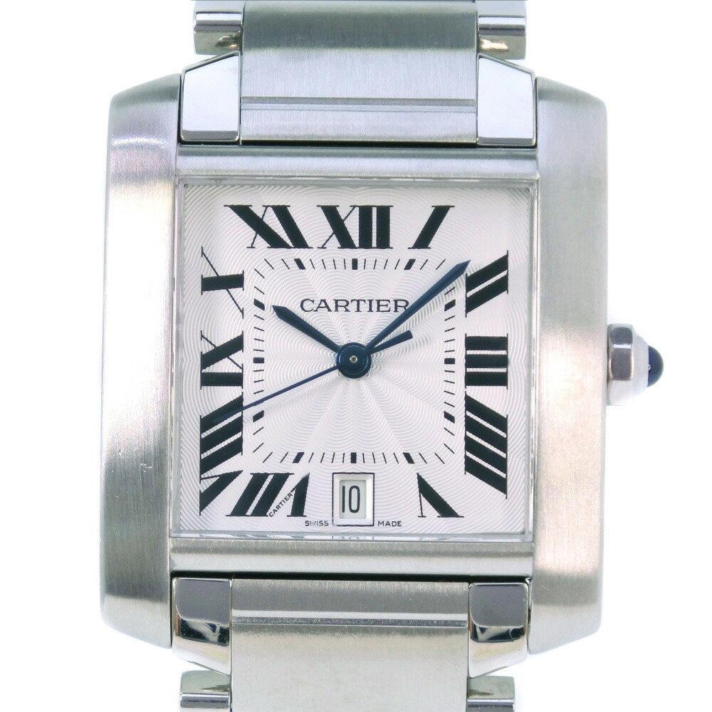 【CARTIER】カルティエ タンクフランセーズLM W51002Q3 ステンレススチール シルバー 自動巻き メンズ シルバー文字盤 腕時計【中古】Aランク