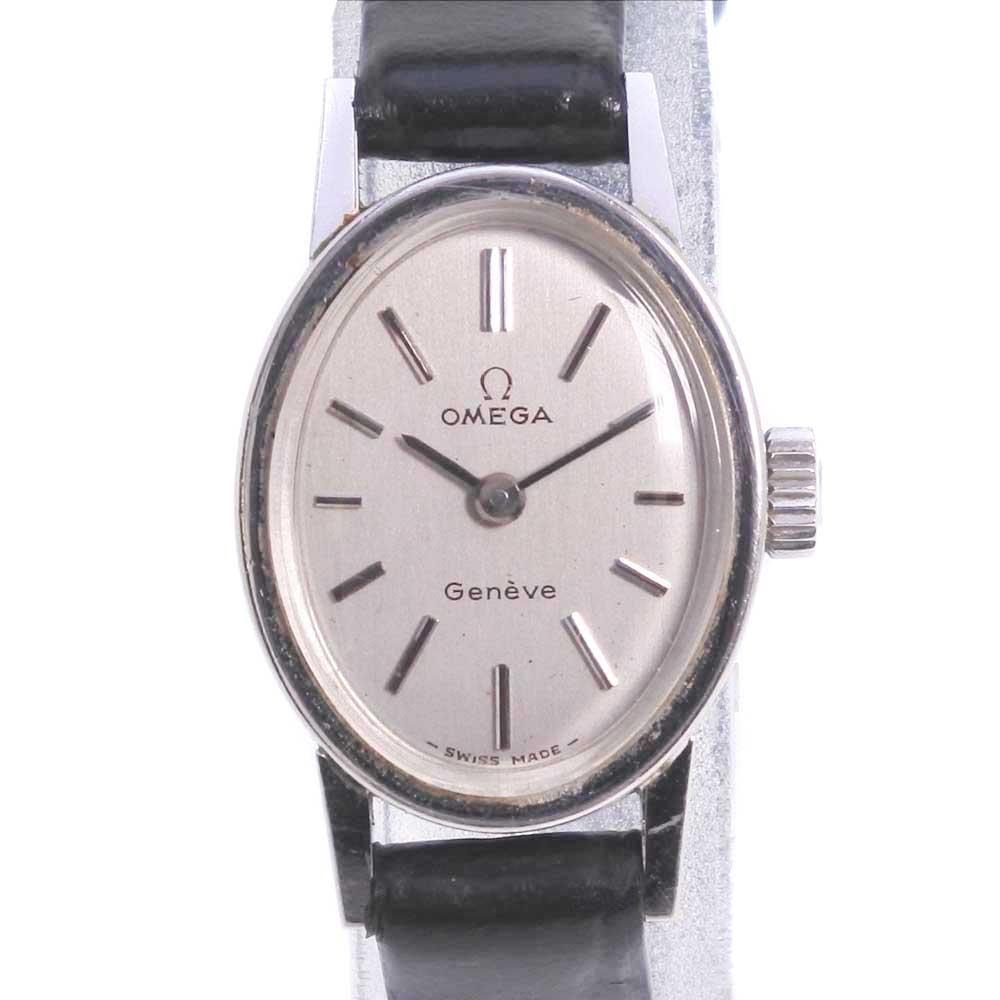 【OMEGA】オメガ Geneve cal.485 ステンレススチール×レザー ブラック 手巻き レディース シルバー文字盤 腕時計【中古】A-ランク
