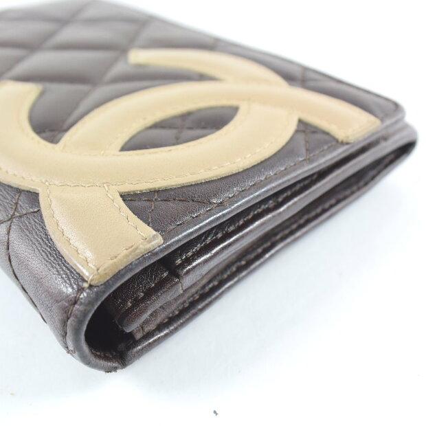 070aea53a82c 【CHANEL】シャネル カンボンライン レザー 茶/オレンジ レディース 二つ折り財布【中古】