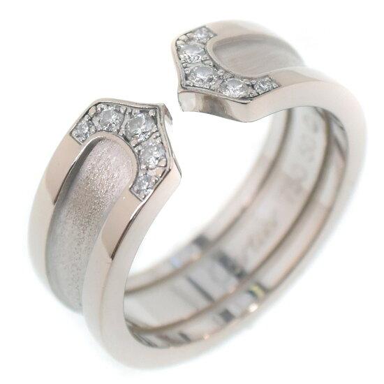 卡地亞C2環/2C環鑽石K18白色合金9.5號女士吊鈎、戒指SA等級 pawn shop nishikino