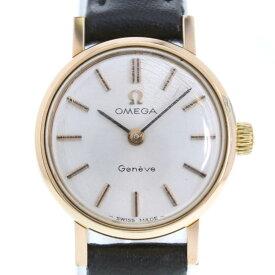 【OMEGA】オメガ Cal.620 ステンレススチール×レザー ゴールド 手巻き レディース シルバー文字盤 腕時計【中古】