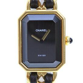 【CHANEL】シャネル プルミエールL GP×レザー ゴールド クオーツ レディース 黒文字盤 腕時計【中古】