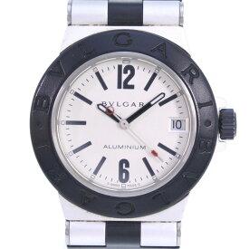 【BVLGARI】ブルガリ アルミニウム AL32TA ラバー ブラック クオーツ ボーイズ シルバー文字盤 腕時計【中古】A-ランク