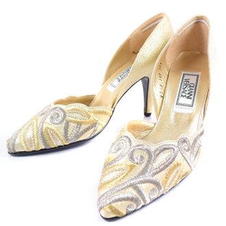 0dd100d2de5 pawn shop nishikino  Versace heel gold   silver Lady s dress shoes 35 1 2  about 22cmS rank