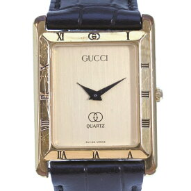 7345f88792d7 中古 【GUCCI】グッチ 4200M ステンレススチール×レザー ブラック クオーツ メンズ ゴールド文字盤 腕時計【中古】