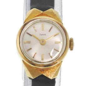 【TUDOR】チュードル K18イエローゴールド×レザー ゴールド 手巻き レディース シルバー文字盤 腕時計【中古】
