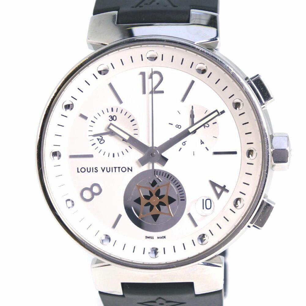 【LOUIS VUITTON】ルイ・ヴィトン タンブール ムーンスターGM QAAA52/Q8D10 ステンレススチール×ラバー ブラック クオーツ メンズ シルバー文字盤 腕時計【中古】Aランク