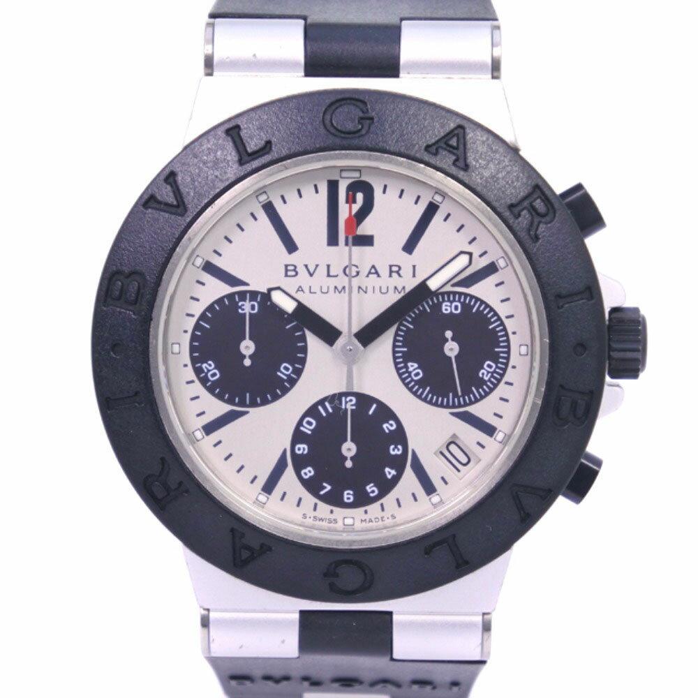 【BVLGARI】ブルガリ アルミニウム クロノグラフ AC38TA ラバー ブラック 自動巻き メンズ シルバー文字盤 腕時計【中古】Aランク