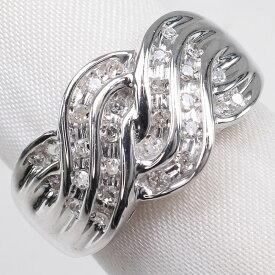 【9/20限定カードエントリーでP11倍確定】K18ホワイトゴールド×ダイヤモンド 16号 D 0.25刻印 レディース リング・指輪【中古】SAランク