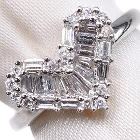 【9/20限定カードエントリーでP11倍確定】ハート K18ホワイトゴールド×ダイヤモンド 6.5号 D 0.40刻印 レディース リング・指輪【中古】SAランク