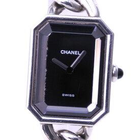 【CHANEL】シャネル プルミエールL H0452 ステンレススチール シルバー クオーツ レディース 黒文字盤 腕時計【中古】