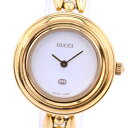 f4f01399cae Gucci change bezel stainless steel X GP gold quartz Lady s white clockface  watch