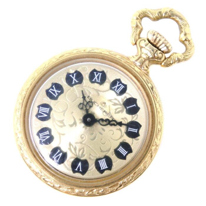 【BUCHERER】ブッフェラー K18イエローゴールド 手巻き ユニセックス ゴールド文字盤 懐中時計【中古】Aランク