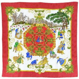 【HERMES】エルメス カレ90 刺繍 シルク 赤 レディース スカーフ【中古】SAランク
