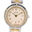 【HERMES】エルメス クリッパー コンビ ステンレススチール×GP ゴールド クオーツ レディース クリーム文字盤 腕時計…