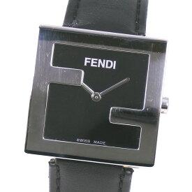 【FENDI】フェンディ 013-4000L-280 ステンレススチール×レザー クオーツ ユニセックス 黒文字盤 腕時計【中古】